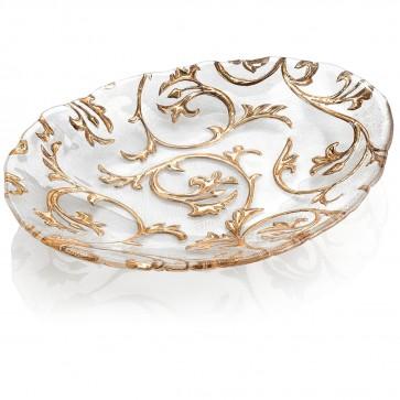 Centrotavola ovale trasparente e oro - Bisanzio